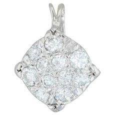 Estate 14k Gold Old European F/VS 0.75ct Diamond Cluster Pendant for Necklace