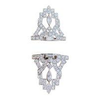 Platinum Art Deco Midcentury 6.00ctw Diamond Brooch / Diamond Dress Clips Vintage