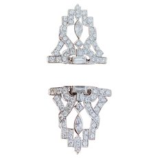 Platinum Art Deco Midcentury 6.00ctw Diamond Brooch / Diamond Dress Clips Vintage