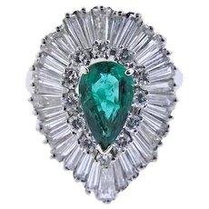 Stunning 14k Gold 4.25 ct Emerald G-H VS Brilliant & Baguette Diamond Ballerina Cocktail Dinner Ring