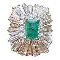 Midcentury 1950s Retro 14k Gold 2.50cttw Emerald Diamond Ballerina Ring-Dant Pendant