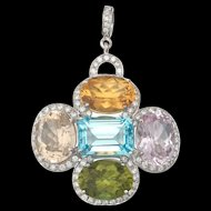 Beautiful Vintage Estate Large 18k Gold, 1.90ct Diamond and Gem Stones Pendant