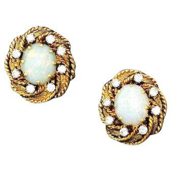 Gorgeous 14k Gold Handmade Vintage Pair Opal 0.98ct G/VS Diamond Earrings