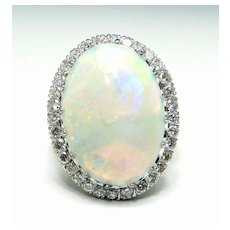 Vintage Estate 14K White Gold 21mm OPAL 0.96 ct VS Diamond Halo Cocktail Ring