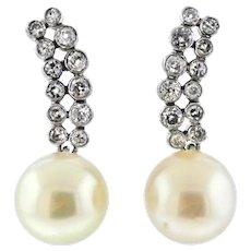 Stunning Platinum 1.50 Ct Diamond Drop Dangle South Seas Cultured 13.4 mm Pearl Earrings - Red Tag Sale Item