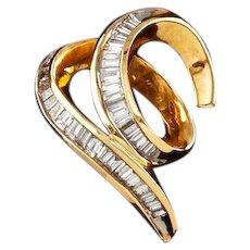Vintage Estate 14k Gold 0.60ct Diamond Baguette Necklace Pendant
