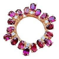 Striking Vintage 14k Gold Diamond Pink Tourmaline Pendant for Necklace