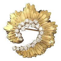 Stunning 14k Gold and 1.25 G/H VS Diamond Radiant Swirl Brooch / Pin / Pendant