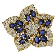 Stunning 18k Gold 6.50 cttw VS Diamond Sapphire Brooch Pin Pendant for Necklace