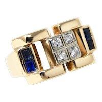 Chunky Retro Mid-Century 1950's /1960's 14k Gold Diamond Sapphire Ring