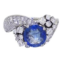Impressive GIA Platinum 4.55ctw No Heat Blue Sapphire Diamond Cluster Ring