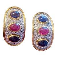 Vintage Estate 14k Gold 5.40ct VS Diamond Sapphire Ruby Cabachon Drop Earrings