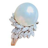 Stunning Vintage Estate Platinum 2.20ct Diamond South Seas Pearl Cocktail Ring