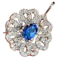 Heavy Platinum 1.94ctw Blue Tanzanite Diamond Flower Cluster Pendant