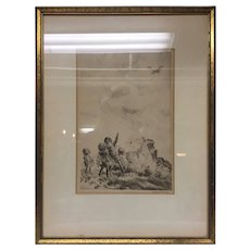"""Beautiful Rare 1940s Listed Illustrator Diana Thorne Dry Point Etching of Children """"Spotting a Plane"""" Framed in Gilt Wood Frame"""