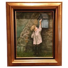 Beautiful Vintage Mid Century Danish Original Oil Painting of a Small Boy Child Signed by Artist