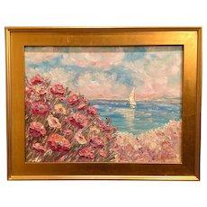 """Mediterranean Wildflowers Seascape"", Original Oil Painting by artist Sarah Kadlic, 24x18"" Gilt Frame"