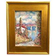 """Villa Seascape Abstract"", Original Oil Painting by artist Sarah Kadlic, 15x17"" with Gilt Wood Frame"