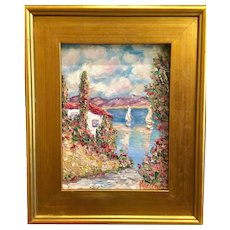 """Villa Seascape Abstract"", Original Oil Painting by artist Sarah Kadlic, 15x17"" with Gilt Wood Frame"