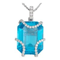Striking Estate 18k Gold Eli Frei Designer 11.47ct Blue Topaz Diamond Necklace Pendant