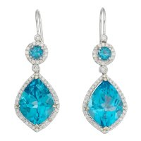 Stunning 18k Gold Eli Frei Designer Blue Topaz Diamond Halo Drop Dangle Pendant Earrings