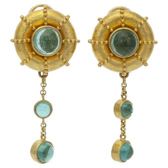 "Estate Designer Elizabeth Locke 18k Gold Green Glass Cabochon Earrings 2.25"""