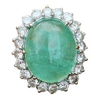 Huge Impressive Vintage 1950s 10ct Emerald Cabachon VS Diamond Halo Platinum Cocktail Ring
