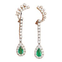 Impressive Vintage Estate 18k Gold 4.00ctw Emerald Diamond Halo Pendant Dangle Drop Earrings