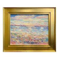 """Abstract Impasto Seascape"", Original Oil Painting by artist Sarah Kadlic, 20x24"" Gilt Framed"