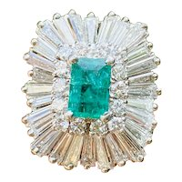 Stunning Art Deco Vintage 1940s 1950s 2.50cttw Emerald Diamond Ballerina Ring-Dant Pendant