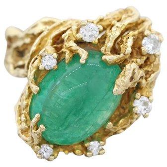 Stunning Vintage 1960s Free Form 14k Gold Emerald Diamond Organic Ring