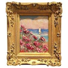 """Abstract Pink Wildflowers Seascape"", Original Oil Painting by artist Sarah Kadlic, 13x15"" Gilt Framed"