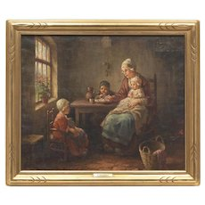 Listed Danish Artist Mother Child Antique Original Oil Painting F G Grust (Dutch, b. 1889) 19th C.