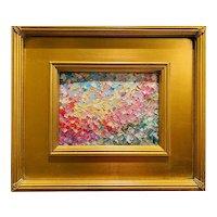"""Abstract Impasto Autumn Foliage"", Original Oil Painting by artist Sarah Kadlic, 12""x12"" Gilt Leaf Frame"