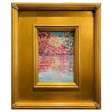 """Abstract Trees Autumn Fall Landscape"", Original Oil Painting by artist Sarah Kadlic, 12"" Gilt Leaf Wood Frame"