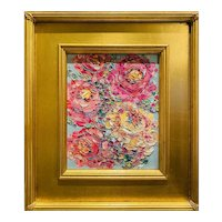 """""""Abstract Wildflowers Floral"""", Original Oil Painting by artist Sarah Kadlic, Gilt Leaf Frame 13"""" x 15"""""""