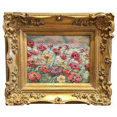 """Abstract Wildflower Garden"", Original Oil Painting by artist Sarah Kadlic, 8x10"" European Gilt Wood Frame"