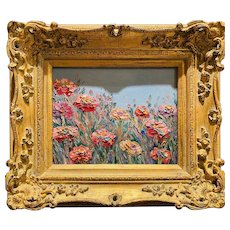 """Abstract Wildflowers Floral"", Original Oil Painting by artist Sarah Kadlic, 13""x15"" Gilt Leaf European Wood Frame"