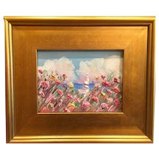 """Impressionist Seascape View"", Original Oil Painting by artist Sarah Kadlic, 9x11"" Giltwood Frame"