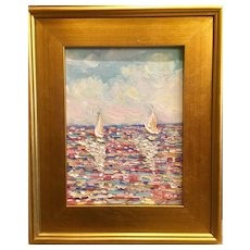 """""""French Wild Flowers Seascape Abstract"""", Original Oil Painting by artist Sarah Kadlic, 14x17"""" Gilt Wood Frame"""