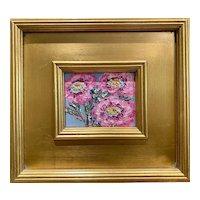 """Abstract Impasto Floral"", Original Oil Painting by artist Sarah Kadlic, Gilt Gold Wood Frame 11""x10"