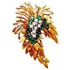 "Stunning Art Deco 4.84 cttw Diamond Emerald ""Des En France"" 18K Gold Brooch Pin Pendant for Necklace Estate 1940s"