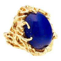Striking Retro Estate Free Form 14k Gold Lapis Lazuli Organic Cocktail Ring