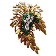 """Stunning vintage estate """"Des En France"""" 18K Gold Diamond Emerald Floral Brooch / Pin / Pendant"""