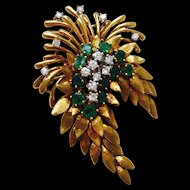 "Stunning vintage estate ""Des En France"" 18K Gold Diamond Emerald Floral Brooch / Pin / Pendant"