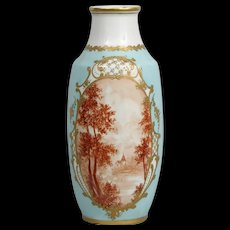 Large Porcelain Hand-Painted Vase, French, Early 20th Century Pale Robin's Egg Blue Toile 16 Inches Tall