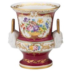 French Porcelain Double Handled Vase Cachepot Urn or Jardiniere , ca. Late 19th Century