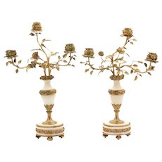 Stunning Pair of 19th Century French Gilt Bronze Mounted Marble Three-Light Candelabra Candlesticks