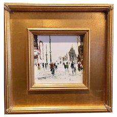 Lovely Mid Century 1940s 1950s Retro Paris Street Oil Tile Painting Europe Scene, Gilt Wood Frame