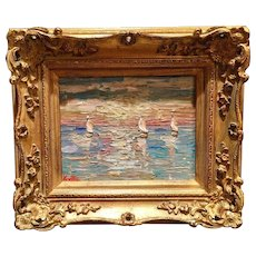 """Abstract Sunset Seascape"", Original Oil Painting by artist Sarah Kadlic, European Gilt Frame 8x10"""